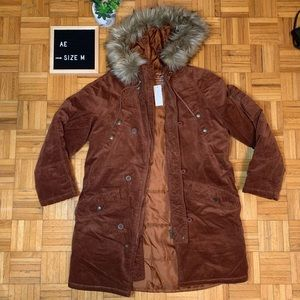 A/E Corduroy Long Zip Up Trench Coat Brand New
